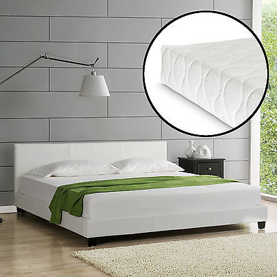 CORIUM Design Upholstered bed+Mattress 140x200 cm imitation leather White