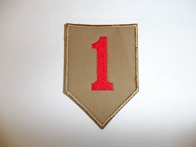 b7683 US Army 1930's 1st  Infantry Division patch khaki mchn emb