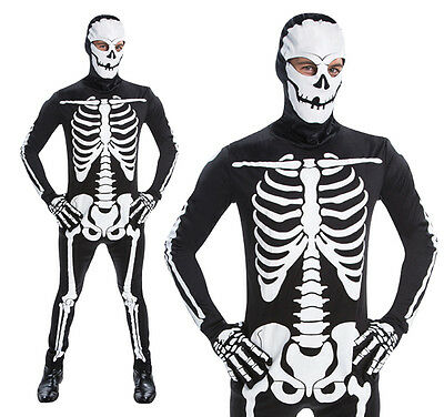 Mens All In One Body Suit Skeleton Fancy Dress Costume Halloween Party Outfit