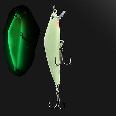 3D Plastic Fishing Lure Bass Minnow Night Crank Bait Hooks Fish Crankbait Tackle