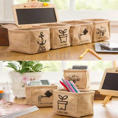 Linen Office Desk Storage Box Holder Jewelry Cosmetic Stationery Organizer Case