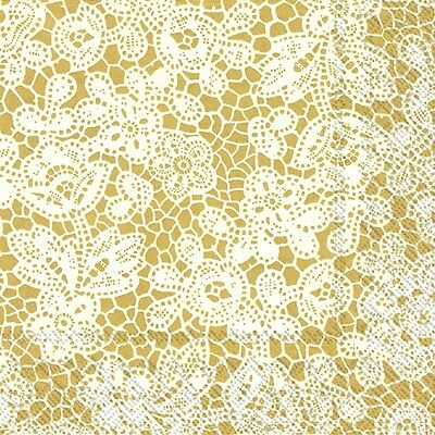 Pretty Lace Gold paper table 33cm square lunch napkins 20 in pack