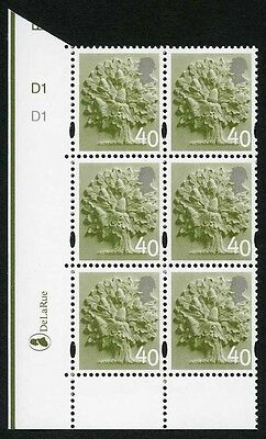 E-DONP40A England DLR 40p Olive Green Cyl D1 No Dot block of 6