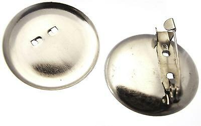 20 Badge Backs Brooch Blanks Silver Plated Round 30mm Make Your Own Badges