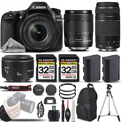 Canon EOS 80D DSLR Camera with 18-135mm USM + 75-300 III + 50mm 1.8 -64GB Bundle