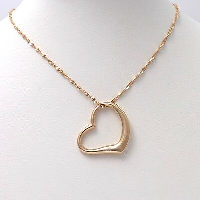 """New 14k Rose Pink Gold Open Heart Pendant Necklace Sz 21"""""""