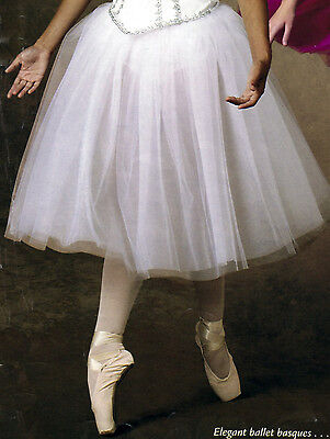 "NWT Soft CHIFFON TULLE  ROMANTIC Long Tutu Candy Pink,Orchid, or White 30"" long"