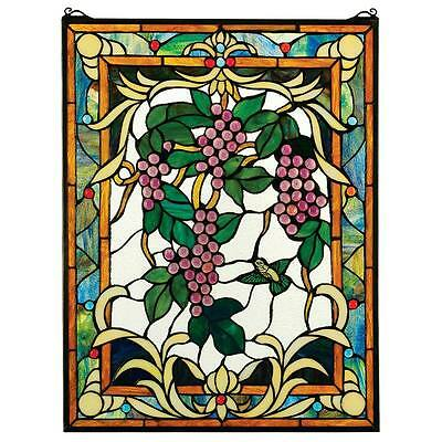 GRAPE VINEYARD STAINED GLASS WINDOW DESIGN TOSCANO Stained glass  window  panel