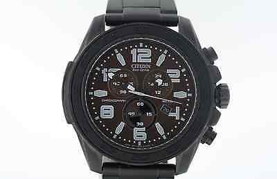 Men's Citizen AT2275-56X Eco-Drive Black Stainless Steel Brown Dial Watch