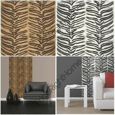 Muriva Tiger Animal Print Wallpaper Realistic Textured White Natural Gold