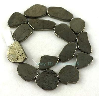 15x25-25x28mm Flat Smooth Freeform Pyrite Beads 15''