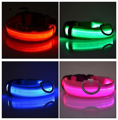 Nylon Adjustable 4 Size LED Light Flashing Pet Dog Safety Collar Button Cell Is