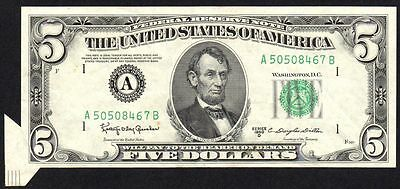 1950 D UNITED STATES $5 ERROR BANKNOTE * BUTTERFLY FOLD OVER MAJOR * gVF *