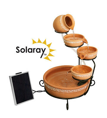 5 Tier Bowl Cascade Water Feature Fountain Solar Powered Traditional Terracotta