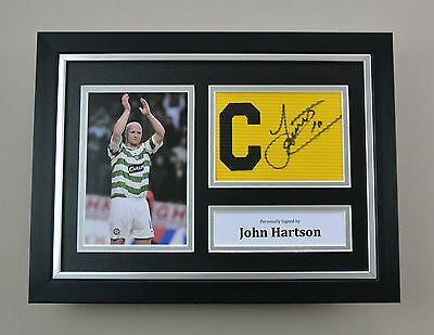 John Hartson Signed A4 Photo Framed Captain Armband Celtic Autograph Display COA