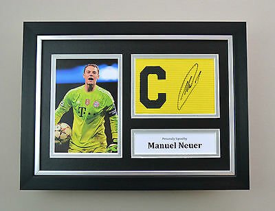 Manuel Neuer Signed A4 Photo Framed Captain Armband Bayern Autograph Display