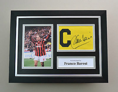 Franco Baresi Signed A4 Photo Framed Captain Armband AC Milan Autograph Display