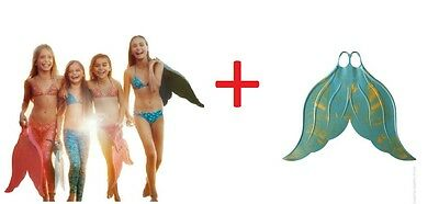 Mahina Mermaid MerFin and 3pc Swimming Suit Aqua Marine MonoFin Swimming Set