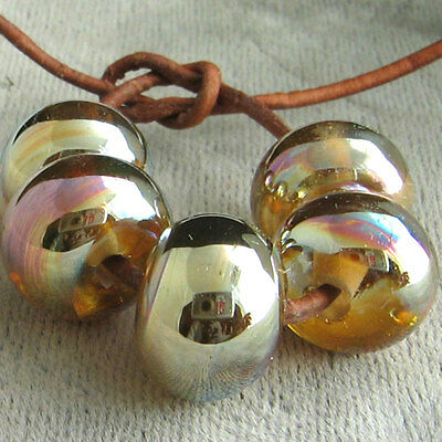 DFJ Lampwork 5 USA Handmade Silver Glass Spacer Beads~Gold Pink Aurora~Fumed SRA