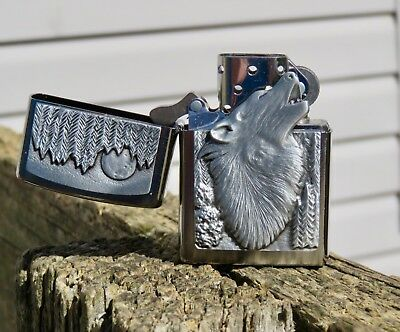 Collectable Zippo Lonely Wolf Heavy Emblem Lighter With Chrome Finish- Rare