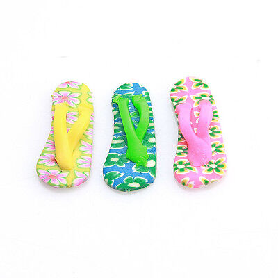 20pcs 112428 Hotsale Assorted Flip-flops FIMO Polymer Clay Charms Spacer Beads