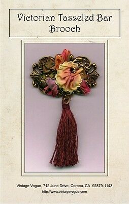 Victorian Tasseled Bar Brooch - Pattern by Janet Stauffacher - Wired Ribbon