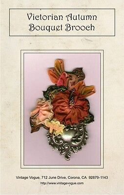 Victorian Autumn Bouquet Brooch - Pattern by Janet Stauffacher - Wired Ribbon