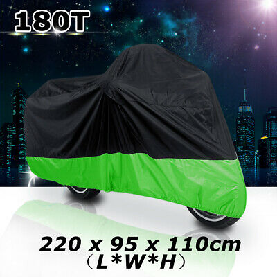 L 180T Black+Green Motorcycle Bike Scooter Waterproof UV Dust Protector Cover