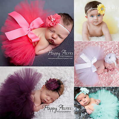 Infant Baby Girls Newborn Flower Headband + Tutu Skirt Costume Set Photo Prop