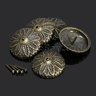 50PC Vintage Bronze Flower Upholstery Nails DIY Furniture Chair Tack Studs Decor