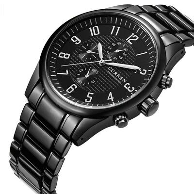 CURREN New Fashion Black Stainless Steel Case Men's Military Sport Quartz Watch