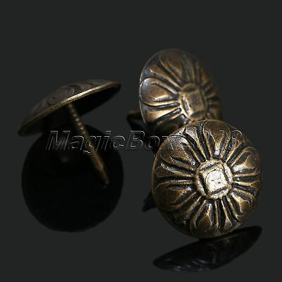 100pcs Upholstery Nails Bronze Furniture Flower Studs Fabric Chair Tacks Pins