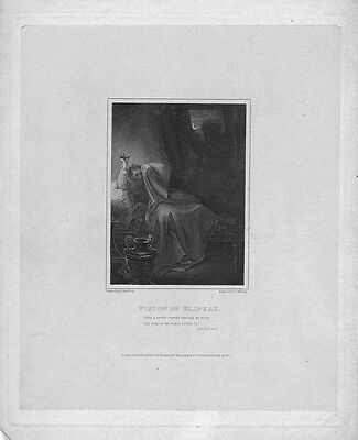 Vision of Eliphaz, Book of Job - Antique Bible Print 1815