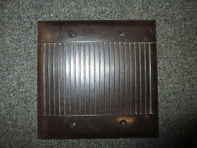 Vintage Bakelite  Brown Solid Blank Box Plate Cover Two Gang Double Box Mcm