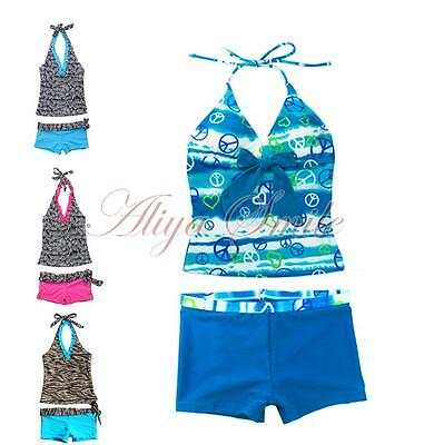 Girls Kids Two Piece Halter Tankini Set Swimwear Swimsuit Bathing Suit Size 7-14