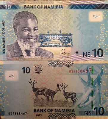 Namibia 2015 10 Dollars Uncirculated Banknote P-11 Springbok From A Usa Seller