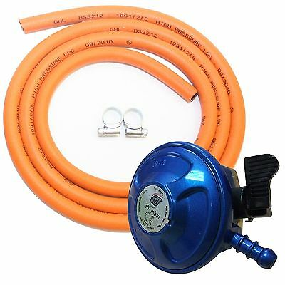Complete BBQ Cooker Kit Butane 21mm Clip On Regulator Gas Hose Clips Stove
