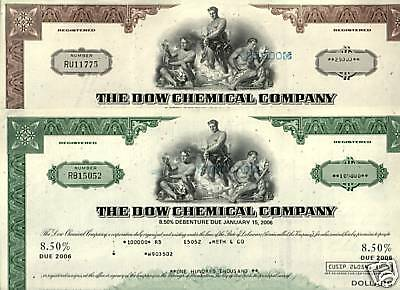 2 DIFF SCARCE ORNATE 70's ART DECO DOW CHEMICAL BONDS! 6 KINDS AVAIL to $100,000