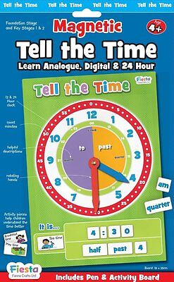 Fiesta Crafts Magnetic Learn to Tell the Time Clock & Activity Chart 4 years +