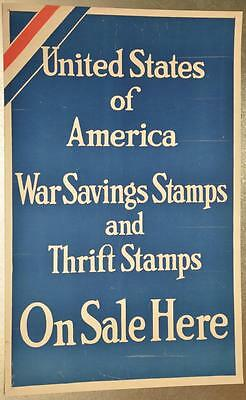 Original WWI Poster United States America War Savings Thrift Stamps On Sale Here