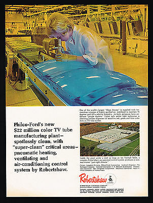 1968 Philco Ford TV Television Tube Manufacturing Plant Robertshaw Controls Ad