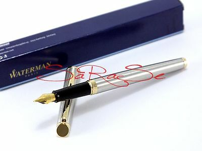 Waterman Hemisphere Essential Füller Fountain Pen Edelstahl Gold Neu