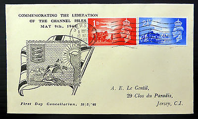 GB 1948 Liberation (2) on Souvenir FDC with Jersey Machine Cancel FP6617