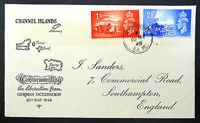 GB 1948 Liberation (2) on Souvenir FDC with Alderney CDS SALE PRICE FP6620