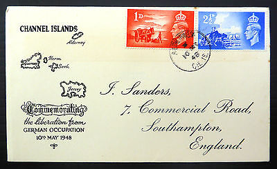 GB 1948 Liberation (2) on Souvenir FDC with Alderney CDS SALE PRICE FP6621