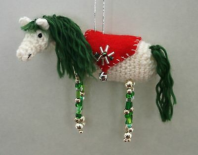 Christmas Horse Crochet and Beading Ornament Craft Kit w/ Fine Merino Wool GREEN