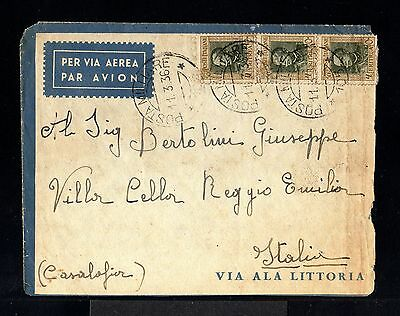 9343-ERITREA-MILITARY COVER LEGION 142ª.PM.105.to REGGIO EMILIA(italy)1936.WWII.