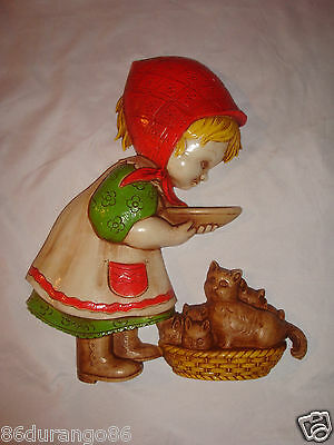 Vintage 1977 Homco Wall Decoration Girl Feeding Cats   Nos  Brand New