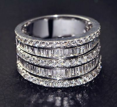 White Sapphire Birthstone 925 Silver Filled Wedding Bridal Ring Gift Size 6-11