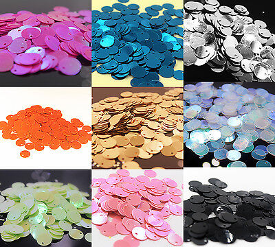 200pc Oval Round Loose Sequins Sewing Wedding Craft DIY 10mm AB multicolor